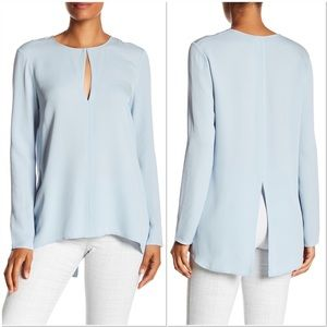 Theory Slit-Front Silk Classic Georgette Tunic Top